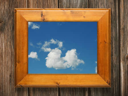wall paintings: blue sky with clouds in wooden frame