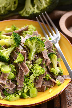 pizzoccheri: pizzoccheri with broccoli - traditional recipe of Italian cuisine Stock Photo