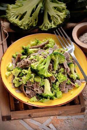 pizzoccheri with broccoli - traditional recipe of Italian cuisine Stock Photo