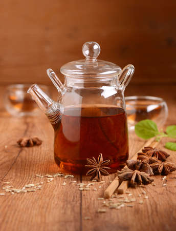 fennel seeds: infusion of fennel seeds and star anise Stock Photo