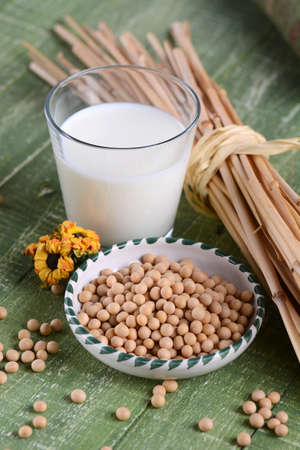 leche de soya: soy milk in the glass with the seeds in the bowl Foto de archivo