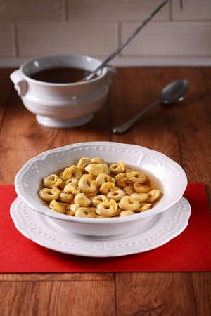 tortellini: tortellini in broth - traditional Italian food