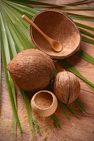 coconut palm sugar: Coconut palm sugar on the wooden table