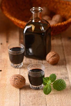 liqueurs: nocino in the bottle - Traditional Italian liqueur