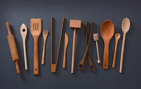 houseware: pile of wooden kitchen utensils photographed from above Stock Photo