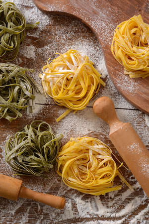 egg noodles: egg noodles on the table - Traditional Italian food