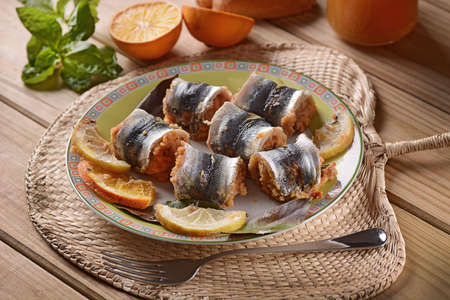 breadcrumbs: rolls stuffed sardines with breadcrumbs, raisins and pine nuts - a traditional Sicilian recipe Stock Photo