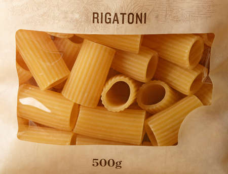 Italian pasta packaged with transparent window - closeup Stock Photo