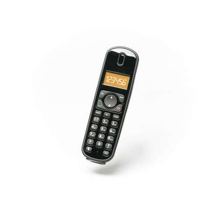 白い背景 - 空に浮かぶ - クローズ アップの携帯電話 写真素材