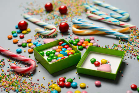 pile of assorted and colored candies - closeup Stock Photo