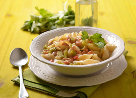 pasta with beans, celery and tomato - closeup