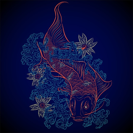 neon japanese fish koi Vector