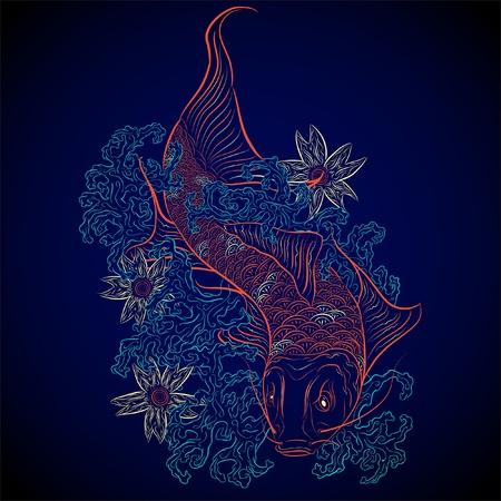 koi pond: neon japanese fish koi Illustration