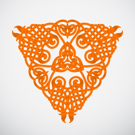 knotted: knotted orange native triangle ornament on white background
