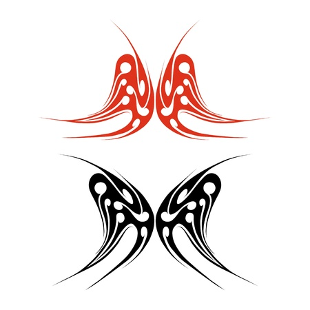 red and black butterfly tattoo on white background Vector