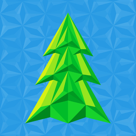 abstract green christmas tree on blue background flat colors triangle shapes