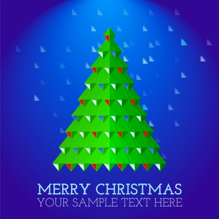 christmas greeting card abstract green christmas tree on snowing blue background