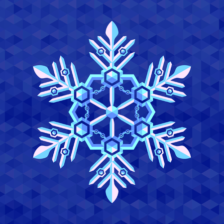 christmas snowflake pearl flat colors on blue snow background