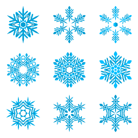 set of blue snowflakes on white flat colors