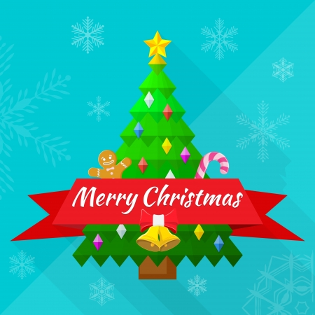flat design merry christmas greeting card with tree and decorations