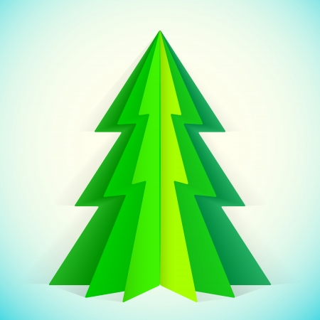 green paper christmas tree greeting card template