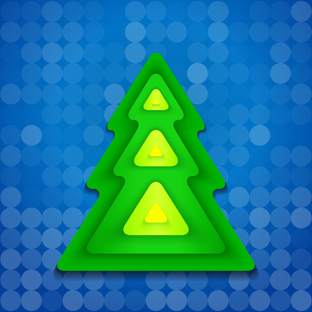 abstract green christmas tree on blue background rounded corners shapes Illustration