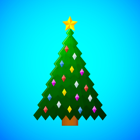 green christmas tree with decorations on blue background textured flat colors Illustration