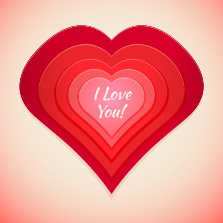 multilayer: red tones multilayer heart i love you label