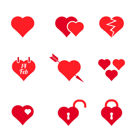 set of solid colors abstract heart icons Vector