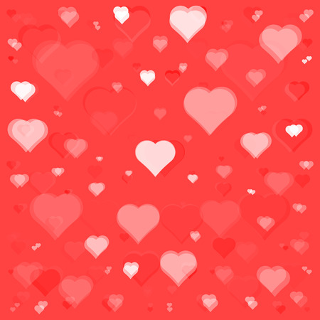 3d art flying white hearts on red background texture pattern Illustration