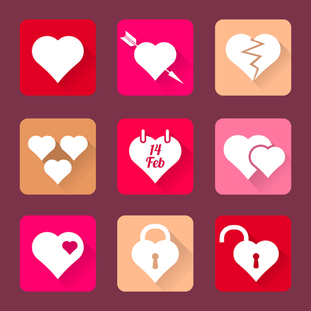 valentine s day set of heart vector icons flat design long shadows Illustration