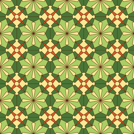 abstract seamless green yellow floral kaleidoscopic pattern