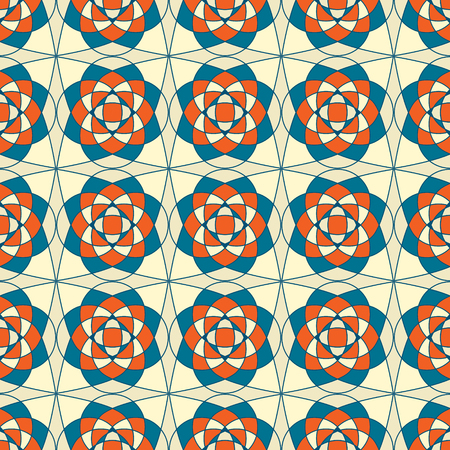 abstract seamless blue beige kaleidoscopic foral retro pattern