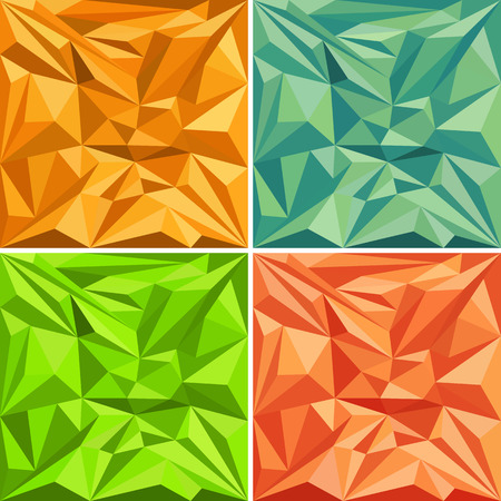 set of triangles polygonal vector pattern backgrounds in various colors