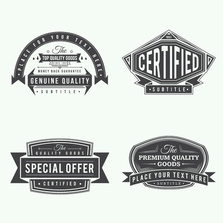 set of retro ribbon vintage style labels and banners black color design