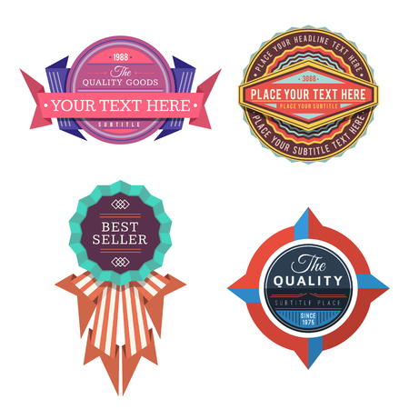 set of various vector design retro color logo labels and vintage style badge banners