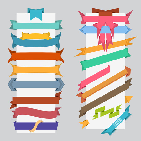 set of vector color flat retro ribbons and banners