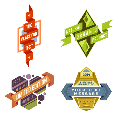 set of various vector design retro color logo ribbon labels and futuristic style badge banners