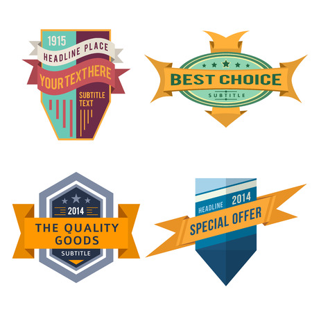 set of various vector design retro color ribbon logo labels and vintage style shield badge banners
