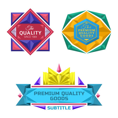 set of color vector retro badge jewel labels and banners