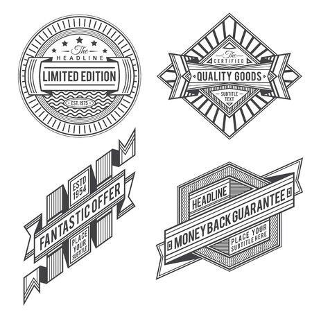 set of retro outline ribbon vintage style labels and banners in black color design
