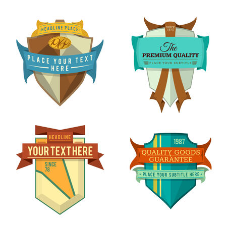 set of various vector design retro ribbon color logo labels and vintage style shield badge banners Illustration