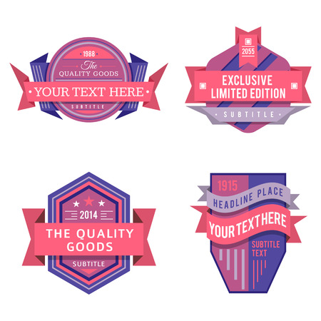 set of various vector design retro pink violet color logo labels and vintage style badge banners