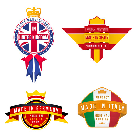 set of vector graphics made in united kingdom germany spain italy badges Illustration