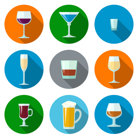 set of vector flat design alcohol glasses icons