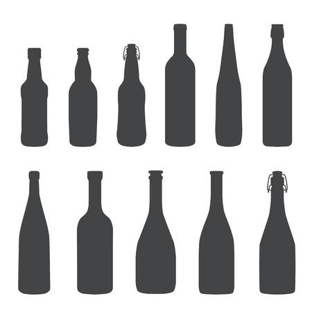 アルコールのボトル モノクロ シルエット セット  イラスト・ベクター素材