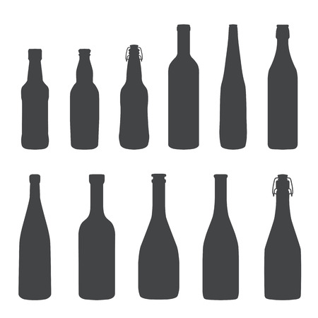 alcohol bottles monochrome silhouette set