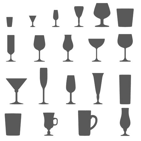 monochrome alcohol glasses vector silhouette set