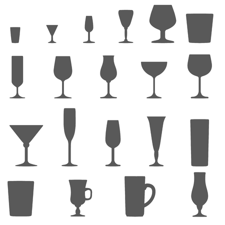 glass cup: monochrome alcohol glasses vector silhouette set