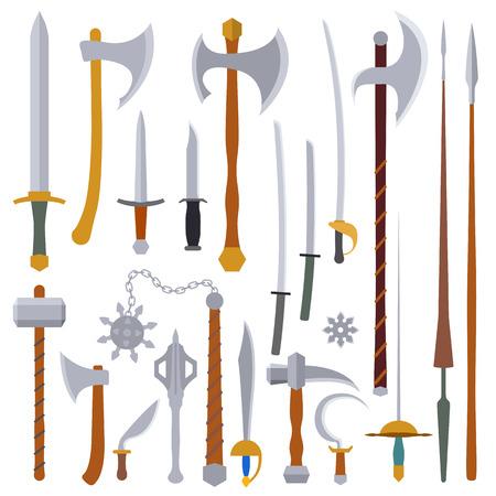 flat design colors medieval cold weapon set Illustration